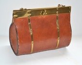 Vintage stitched bag  purse treasury chest style box bag 70s tan honey brown  leather boho handmade