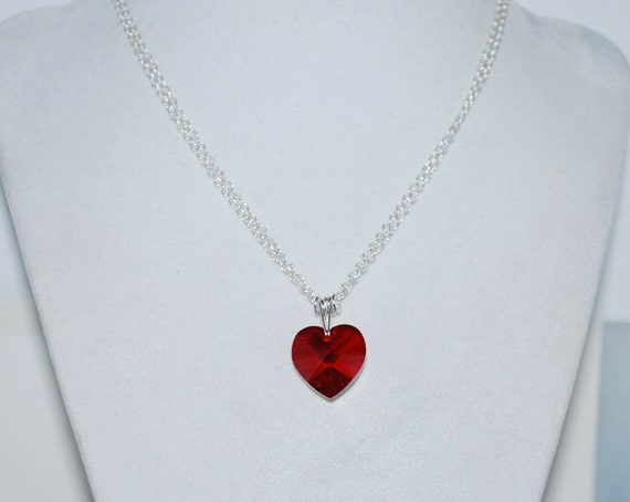 Red Heart Necklace, Crystal Heart Necklace, Simple Locket, Swarovski Crystal Red Heart Pendant Necklace, Siam AB, Red Heart