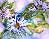 Daisies - abstract watercolor giclee print - 8 x 10 or larger sizes available