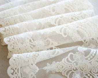 SALE Ivory Lace Fabric Trim, Vintage Lace Trim, Luxury Lace Trim ,Ivory Lace Veil and Dress