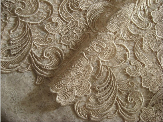 Items similar to champagne lace fabric crochet lace for Bridal fabric