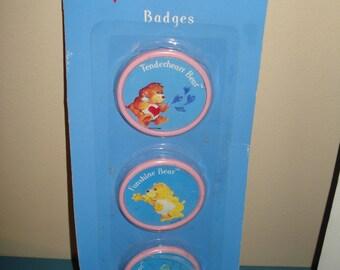 Vintage 1980's Care Bears Badge Set