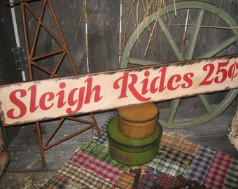 "Primitive Large Holiday Wood Sign Christmas "" SLEIGH RIDES 25 cents ""  Hand Painted Christmas Wall Decoration  Rustic  Housewares"
