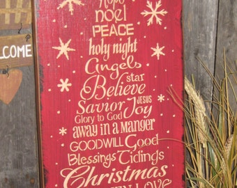 """Primitive Wood Painted Christmas Holiday Wishes RED Sign """" Worded Christmas Tree """"  Love SPirit Noel SUBWAY Sign art Country Folkart Winter"""