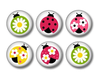 Ladybug button badges or fridge magnets