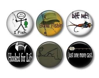 Fishing pinback button badges or fridge magnets