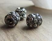 Metal Stacked Rhinestone Barrel Bead Plumbum Black 11mm x 10mm QTY 3