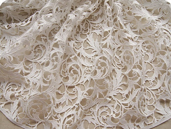 Off white lace fabric venise lace fabric bridal crocheted lace
