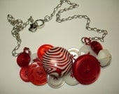PEPPERMINT PATTIE - Button Necklace - Vintage Button Jewelry - Red - White - Pearl - GLOW red and white button -
