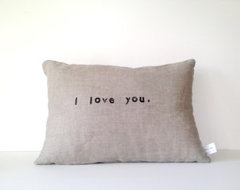 I LOVE YOU // Lumbar Pillow // Handmade Modern