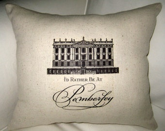 Love Downton Abbey - Pemberley Jane Austen Burlap Pillow, Pride and Prejudice Cushion, England, British Inspired Shabby Chic Home Decor