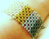 Lattice Bracelet of Sea Greens and Turquoise-Metal Free