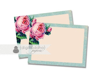 English Rose Labels INSTANT DOWNLOAD Shabby Chic Pink Blue Antique Buffet Food Cards Printable Stickers Table Favor Tags DIY - Amerie Style