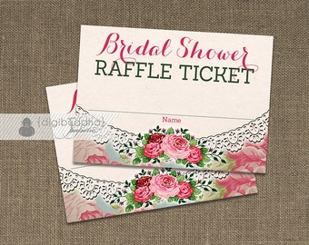 Bridal Shower Raffle Ticket INSTANT DOWNLOAD Shabby Chic Roses Game Drawing Contest Insert Card Doily Lace Girl Pink Printable DIY - Giada