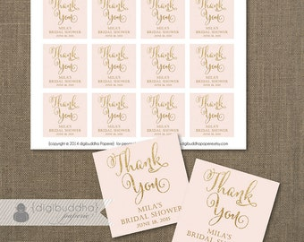 """Blush Pink & Gold Glitter Favor Tags Bridal Shower Labels Thank You Tags 2.25"""" Square Pastel Pink and Gold DIY Printable or Printed- Mila"""