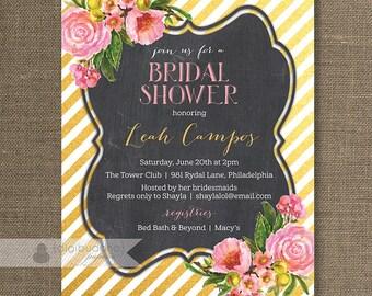 Pink & Gold Bridal Shower Invitation Stripe Pink Flower Rose Floral Blush Pastel Chalk Modern FREE PRIORITY SHIPPING or DiY Printable - Leah