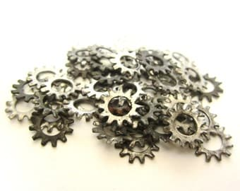 Lot Collection of 25 Small Antique Gears or Industrial Parts for Art or Jewelry Vintage Metal Gears