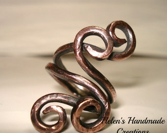 Bold ring collection ..... one ring four swirls rustic handmade beauty