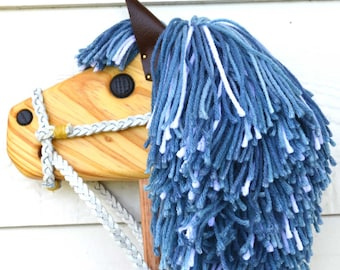 Hobby Horse - Stick Horse - Shades of Blue with Full Bridle