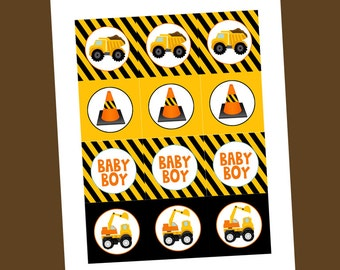 Construction Baby Shower - Tags/Toppers