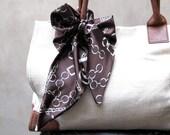 Wide Purse Scarf, Chains and Paris Print, Hair Scarf, Hair Wrap, Neck Bow, Handbag Scarf, Hair Bow, Equestrian Scarf, Ready to Ship