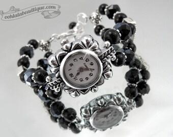 Black crystal watch, black wrist watch, bracelet watch, bead watch, onyx watch, black birthstone watch, adjustable watch, ladies watch, goth
