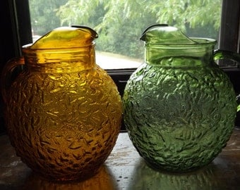 Vintage Glass Pitcher Set/Green and Amber Pitcher Set/Anchor Hocking