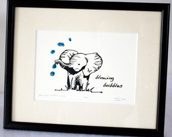 Elephant screenprint, blowing bubbles, Limited edition gocco art