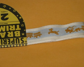 """Vintage Embroidered Trim Dog and Circus Train Baby or Children, Blue and White 2 Yards 7/8"""" wide 1960's in Original Packaging"""
