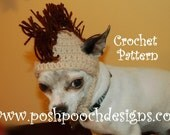 Instant download CROCHET PATTERN - Mohawk Dog Hat for small dogs 2-20 lbs