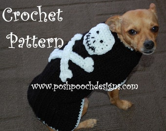 Instant Download Crochet Pattern - Skull and Crossbones Dog Sweater - Small Dog 2-15 lbs