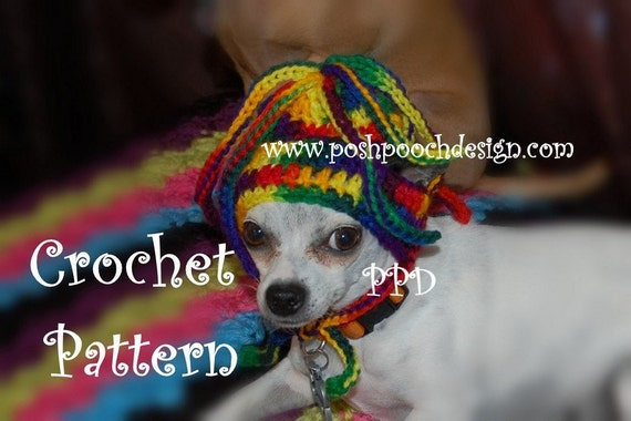 Instant Download Crochet Pattern - Squiggles Dog Hat - Small Dog Beanie
