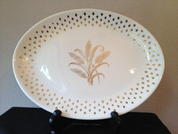 Homer laughlin oval serving platter with 22k gold fleur de - Fleur de lis serving tray ...