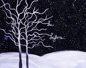 Family name art, family tree art, winter scene, customize your own