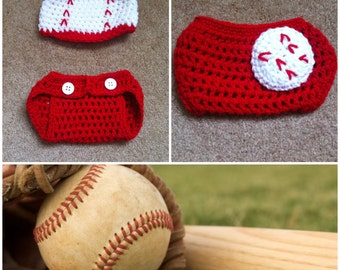 Crochet Baby Baseball Outfit (Beanie/hat and Diaper Cover)