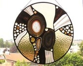 Stained Glass Panel - Round with Natural Agate - Bronze - Peach - Chestnut  - Abstract - OOAK - Handcrafted - Made in USA