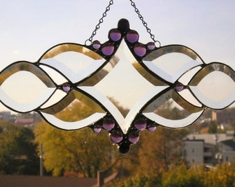 Stained Glass Art|Beveled Glass Suncatcher|Purple|Amethyst Glass Gems|OOAK|Art & Collectibles|Glass Art|Handcrafted|Made in USA
