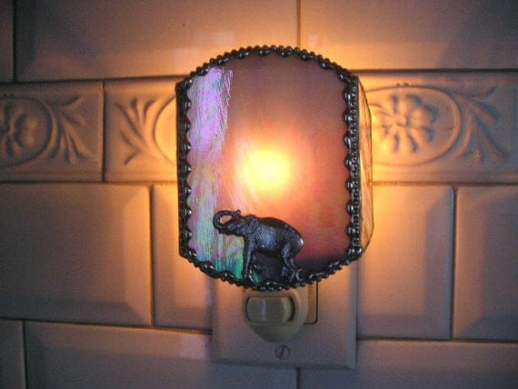 Stained Glass Nightlight - Elephant with Raised Trunk - Gray Iridescent - Handcrafted - Made in USA