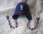 Crochet Baby Football Earflap Hat - Red, White and Blue  -  Team Colors -  Photography Prop - made to order
