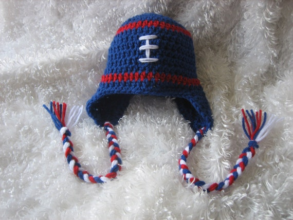 Crochet Baby Football Earflap Hat Red White and by ...