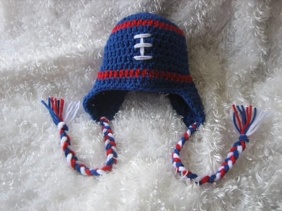 Soft Shells Baby Earflap Hat Crochet Pattern : Crochet Baby Football Earflap Hat Red White and by ...