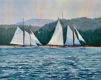 Watercolor, ORIGINAL, Morning Schooners, boat, sailboat, seascape, sailing, sail, blue, water, ocean watercolour