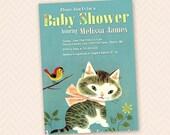 Shy Little Kitten Inspired Baby Shower Invitation Design