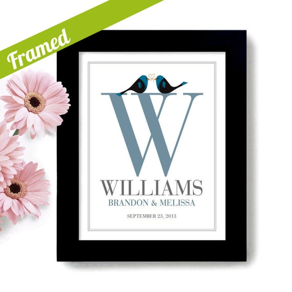 Wedding Gift Framed Art : Monogram Wedding Gift Framed Art Print for Couples Bridal Shower ...