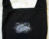 SALE Dream Embroidered black canvas sling bag purse calligraphy
