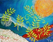 Whimsical Fantasy Landscape Ferns, Moon, Original Painting Honeymoon Home Decor 9x12