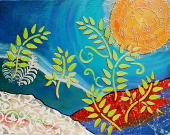 Whimsical Fantasy Landscape Ferns, Moon, Original Painting Honeymoon Home Decor 9x12