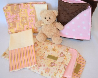 Pink Baby Animal Gift Set: Baby Blanket, Burp Cloth, Changing Pouch Set, Snuggle Blanket