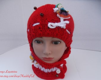 Clearance. Hat and Neck Warmer Set for Girl, Christmas Hat and Cowl Set for Girl, Red Hat Cowl Set, Christmas Gift