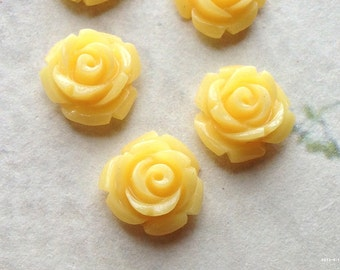 10 mm Mango Yellow Color Garden Rose Resin Flower Cabochons  (.tc)